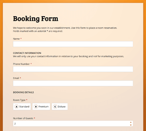The Booking Form template