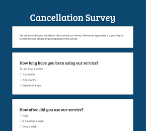 The Cancellation Survey form template
