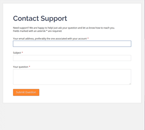 The Support Question form template
