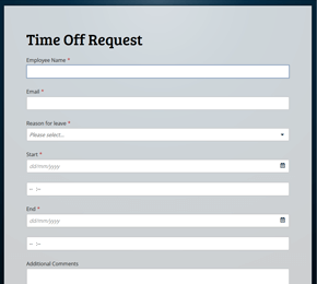 The Time Off Request form template