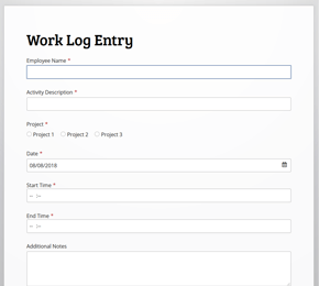 The Work Log Entry form template